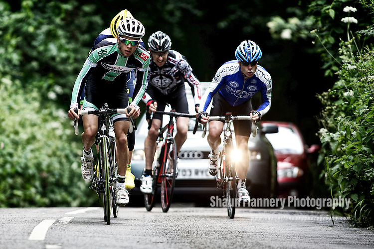 Pix: Shaun Flannery/shaunflanneryphotography.com<br /> <br /> COPYRIGHT PICTURE>>SHAUN FLANNERY>01302-570814>>07778315553>><br /> <br /> 23rd June 2013.<br /> Doncaster Wheelers Cycling Club.<br /> The Danum Trophy Road Race.<br /> Winner - Ashley Proctor of Bike BoxAlan/Whiston Velo  (green top) leads James Baillie, Gareth McGuinness and Chris Fothergill.