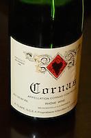 A bottle of Cornas by A Clape in Cornas.  Cornas, Ardeche, Ardèche, France, Europe