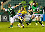 Hibs v St JohnstoneÖ24.11.20   Easter Road      SPFL<br /> Stevie May is tackled by Ryan Porteous<br /> Picture by Graeme Hart.<br /> Copyright Perthshire Picture Agency<br /> Tel: 01738 623350  Mobile: 07990 594431