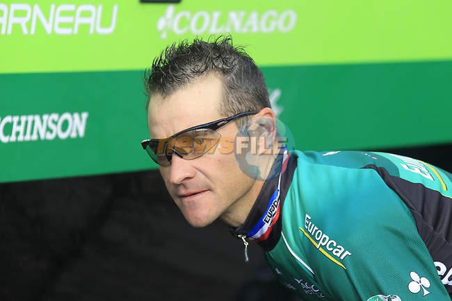 Thomas Voeckler (FRA) Team Europcar waits for his bike to go to sign on before the start of the 98th edition of Liege-Bastogne-Liege outside the Palais des Princes-Eveques, running 257.5km from Liege to Ans, Belgium. 22nd April 2012.  <br /> (Photo by Eoin Clarke/NEWSFILE).