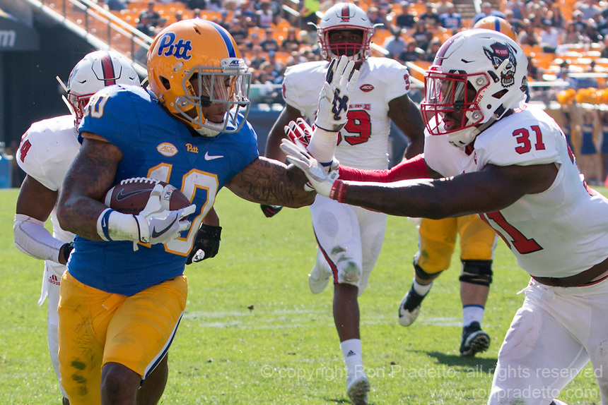 Pitt wide receiver Quadree Henderson (10). The North Carolina Wolfpack defeated the Pitt Panthers 35-17 at Heinz Field, Pittsburgh, PA on October 14, 2017.