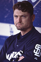 Trevor Hoffman of the San Diego Padres during a 2001 season MLB game at Dodger Stadium in Los Angeles, California. (Larry Goren/Four Seam Images)