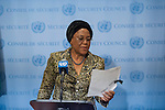 President of Security Council (Nigeria) speaks to the press at the Security Council stakeout