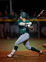 Venice Indians Grant Nokes (21) bats during a game against the Braden River Pirates on February 25, 2021 at Braden River High School in Bradenton, Florida.  (Mike Janes/Four Seam Images)