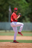 GCL Phillies West pitcher Riley Wilson (15) during a Gulf Coast League game against the GCL Yankees East on August 3, 2019 at the Carpenter Complex in Clearwater, Florida.  The GCL Yankees East defeated the GCL Phillies West 4-0, the second game of a doubleheader.  (Mike Janes/Four Seam Images)