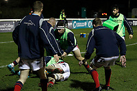 James Malcolm of London Scottish on the pads during the Greene King IPA Championship match between London Scottish Football Club and Nottingham Rugby at Richmond Athletic Ground, Richmond, United Kingdom on 7 February 2020. Photo by Carlton Myrie.