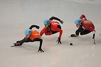 OLYMPICS: SOCHI: Iceberg Skating Palace, 13-02-2014, Shorttrack, Men's 1000m, Heats, Sjinkie Knegt (#248   USA), Olivier Jean (#207   CAN), Bence Beres (#222   HUN), ©photo Martin de Jong