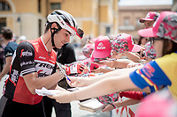 Matteo Moschetti (ITA/Trek - Segafredo) making some kids happy at the start<br /> <br /> Stage 10: Ravenna to Modena (147km)<br /> 102nd Giro d'Italia 2019<br /> <br /> ©kramon