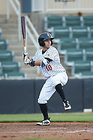 Nick Madrigal (10) of the Kannapolis Intimidators at bat against the West Virginia Power at Kannapolis Intimidators Stadium on July 25, 2018 in Kannapolis, North Carolina. The Intimidators defeated the Power 6-2 in 8 innings in game one of a double-header. (Brian Westerholt/Four Seam Images)