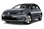 Stock pictures of low aggressive front three quarter view of 2017 Volkswagen Golf e 5 Door Hatchback Low Aggressive