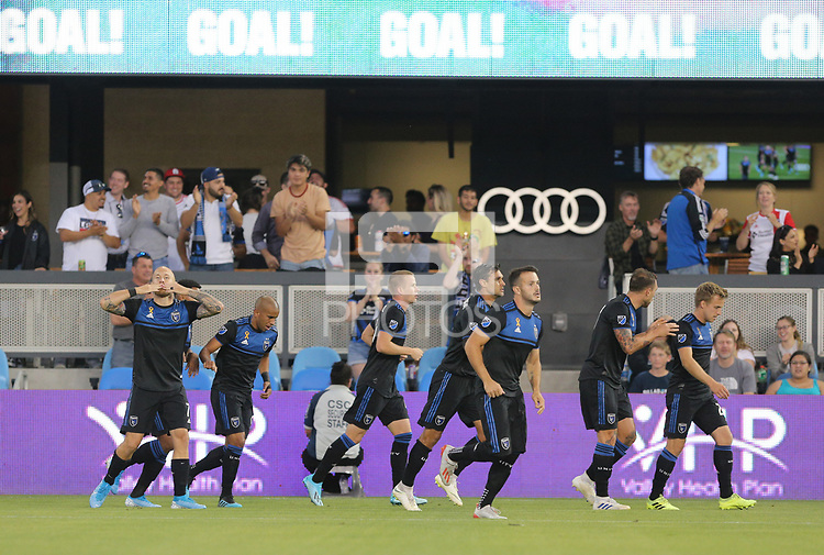 SAN JOSE, CA - AUGUST 31: Magnus Eriksson of the San Jose Earthquakes scores and celebrates with his teammates during a Major League Soccer (MLS) match between the San Jose Earthquakes and the Orlando City SC  on August 31, 2019 at Avaya Stadium in San Jose, California.