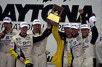 Tne Corvette Team of Ron Fellows, Dale Earnhardt, Jr., Dale Earnhardt, Sr., Andy Pilgrim, Kelly Collins and Franck Freon celebrate in Victory Lane..39th Rolex 24 at Daytona, 3/4 February,2001 Daytona International Speedway  Daytona Beach,Florida,USA.©F.Peirce Williams 2001 ..