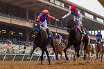 AUGUST 29 2021:  Umberto Rispoli on Rock Your World (left) congratulates John Velazquez aboard Medina Spirit after a hard fought battle in the Shared Belief Stakes at Del Mar Fairgrounds in Del Mar, California on August 29, 2021.  Evers/Eclipse Sportswire/CSM