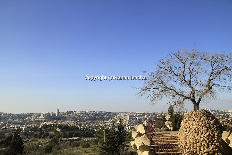Israel, Yair lookout in Kibbutz Ramat Rachel, an observation point overlooking Jerusalem