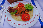 A traditional dish of Turkish Lamb is beautifully presented in a restaurant in Istanbul, Turkey.