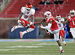 Houston Cougars wide receiver Deontay Greenberry (3) and Southern Methodist Mustangs wide receiver Ronnell Sims (8) in action during the game between the University of Houston Cougars and the Southern Methodist Mustangs at the Gerald J. Ford Stadium in Dallas, Texas. SMU defeats Houston 72 to 42...