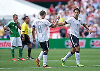 Clint Dempsey, Omar Gonzalez.  The USMNT defeated Germany, 4-3, in a friendly match held at RFK Stadium in Washington, DC.