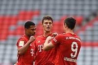 30th May 2020, Allianz Arena, Munich, Germany; Bundesliga football; Bayern Munich versus Fortuna Dusseldorf. Münich's Benjamin Pavard (M) celebrates with Serge Gnabry (l) and Robert Lewandowski as he scores for 2-0 in the 29th minute