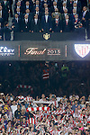 FC Barcelona's President Josep Maria Bartomeu, Minister of Culture and Education Jose Ignacio Wert, President of Catalunya Artur Mas, King Felipe VI of Spain, Presindent of RFEF Angel Maria Villar, President of Basque Country Inigo Urkullu and Athletic de Bilbao's President Josu Urrutia during Spanish King's Cup Final match. May 30,2015. (ALTERPHOTOS/Acero)