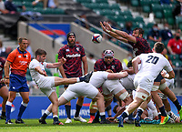 4th July 2021; Twickenham, London, England; International Rugby, Autumn Internationals, England versus United States of America; the kick from Harry Randall of England is charged down by Cam Dolan of USA who goes on to score his try