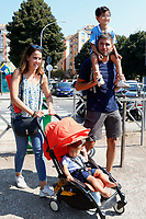 Former deputy of Movement 5 Stars Alessandro Di Battista with his partner Sahra Lahouasnia and their sons Andrea and Filippo during a picnic at Caffarella park, in occasion of the election campaign for the new mayor of the city.<br /> <br /> Rome (Italy), September 12th 2021<br /> <br /> Photo Samantha Zucchi Insidefoto