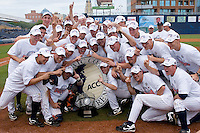 The Virginia Cavaliers celebrate winning the 2009 ACC Baseball Championship at Durham Bulls Athletic Park May 24, 2009 in Durham, North Carolina. The Virginia Cavaliers defeated the Florida State Seminoles 6-3 to win the 2009 ACC Baseball Championship.  (Photo by Brian Westerholt / Four Seam Images)