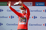 Primoz Roglic (SLO) Jumbo-Visma retains the leaders Red Jersey at the end of Stage 20 of La Vuelta d'Espana 2021, running 202.2km from Sanxenxo to Mos, Spain. 4th September 2021.    <br /> Picture: Luis Angel Gomez/Photogomezsport | Cyclefile<br /> <br /> All photos usage must carry mandatory copyright credit (© Cyclefile | Luis Angel Gomez/Photogomezsport)