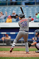 Lehigh Valley IronPigs first baseman Joey Meneses (38) at bat during a game against the Syracuse Chiefs on May 20, 2018 at NBT Bank Stadium in Syracuse, New York.  Lehigh Valley defeated Syracuse 5-2.  (Mike Janes/Four Seam Images)