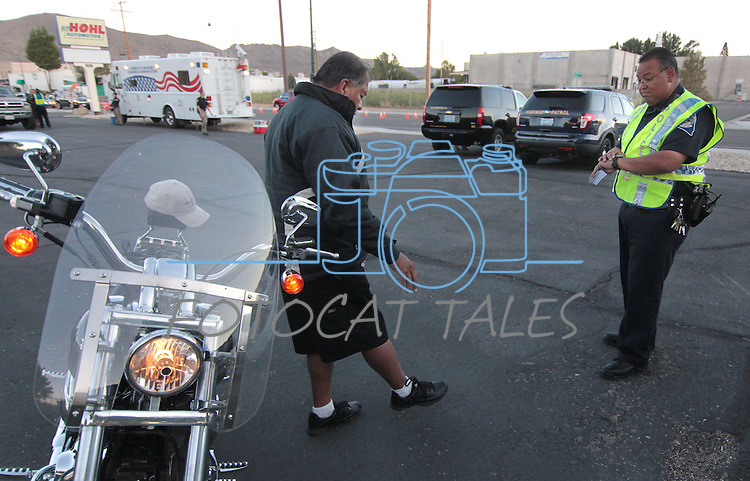 Ben Gomez of Citrus Heights, Ca., passes a field sobriety test during a DUI checkpoint in Carson City, Nev. on Sunday, Sept. 2, 2012. Several area agencies participated including Carson City Sheriff's Department, Nevada Highway Patrol and Lyon County Sheriff..Photo by Cathleen Allison