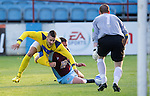 Drogheda United St Johnstone...07.07.11  Pre-season Friendly.Marcus Haber battles with Robbie Clark.see story by Gordon Bannerman Tel: 07729 865788.Picture by Graeme Hart..Copyright Perthshire Picture Agency.Tel: 01738 623350  Mobile: 07990 594431