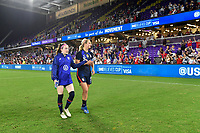 ORLANDO, FL - MARCH 05: Rose Lavelle #16 and  Lindsey Horan #9 and the USWNT celebrate during a game between England and USWNT at Exploria Stadium on March 05, 2020 in Orlando, Florida.