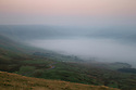 15/09/16 <br /> <br /> The view from Mam Tor looking down towards Edale as the sun begins to burn through the mist clinging to valley in the Derbyshire Peak District on what is forecast to be the third day in a row where UK temperatures will top 30 degrees. <br /> All Rights Reserved: F Stop Press Ltd. +44(0)1773 550665   www.fstoppress.com
