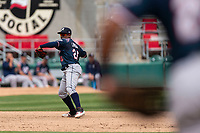 Reno Aces shortstop Domingo Leyba (26) during a game against the Fresno Grizzlies at Chukchansi Park on April 8, 2019 in Fresno, California. Fresno defeated Reno 7-6. (Zachary Lucy/Four Seam Images)