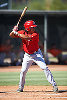 Los Angeles Angels of Anaheim Jahmai Jones (22) during an Instructional League game against the San Francisco Giants on October 13, 2016 at the Tempe Diablo Stadium Complex in Tempe, Arizona.  (Mike Janes/Four Seam Images)