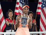 September  9, 2017:  Sloane Stephens (USA) celebrates her win over Madison Keys (USA)  6-3, 6-0, in the final at the US Open being played at Billy Jean King National Tennis Center in Flushing, Queens, New York. Leslie Billman/EQ