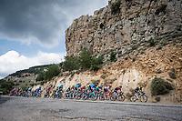 peloton speeding down<br /> <br /> Stage 6: Mora de Rubielos to Ares del Maestrat (199km)<br /> La Vuelta 2019<br /> <br /> ©kramon