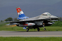 A Dutch F-16 fighter jet takes off with afterburner. Nato Tiger Meet is an annual gathering of squadrons using the tiger as their mascot. While originally mostly a social event it is now a full military exercise. Tiger Meet 2012 was held at the Norwegian air base Ørlandet.