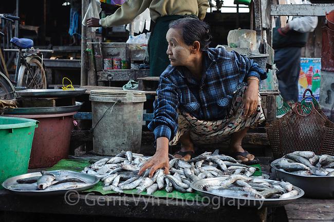 Sittwe fish market. Rakhine State, Myanmar. January.
