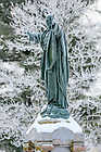 February 17, 2021; Main Quad Jesus statue covered in a freezing frost. (Photo by Matt Cashore/University of Notre Dame)