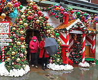 The Ivy Chelsea Garden has transformed itself into Santa's Grotto for Christmas. The trendy eatery along the King's Road has had a festive makeover with the installation including Santa's mailroom, reindeer stables, Christmas tree, decorations and Santa's sleigh. London December 3rd 2020<br /> <br /> Photo by Keith Mayhew