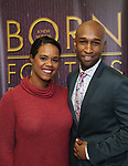 """Rebecca Covington and Donald Webber Jr. backstage after a Song preview performance of the Bebe Winans Broadway Bound Musical """"Born For This"""" at Feinstein's 54 Below on November 5, 2018 in New York City."""