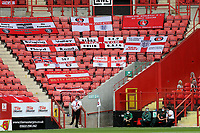 Flags and banners on display in the stand at Charlton Athletic during Charlton Athletic vs Reading, Sky Bet EFL Championship Football at The Valley on 11th July 2020