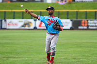 Peoria Chiefs infielder J.R. Davis (7) warms up in the outfield prior to a Midwest League game against the Quad Cities River Bandits on May 27, 2018 at Modern Woodmen Park in Davenport, Iowa. Quad Cities defeated Peoria 8-3. (Brad Krause/Four Seam Images)
