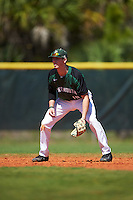 Dartmouth Big Green shortstop Nate Ostmo (19) during a game against the Eastern Michigan Eagles on February 25, 2017 at North Charlotte Regional Park in Port Charlotte, Florida.  Dartmouth defeated Eastern Michigan 8-4.  (Mike Janes/Four Seam Images)