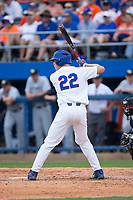 JJ Schwarz (22) of the Florida Gators at bat against the Wake Forest Demon Deacons in Game One of the Gainesville Super Regional of the 2017 College World Series at Alfred McKethan Stadium at Perry Field on June 10, 2017 in Gainesville, Florida.  The Gators defeated the Demon Deacons 2-1 in 11 innings.  (Brian Westerholt/Four Seam Images)
