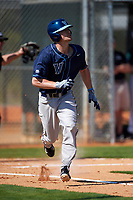 Villanova Wildcats second baseman Todd Czinege (9) runs to first as watches a home run leave the field during a game against the Dartmouth Big Green on February 27, 2016 at South Charlotte Regional Park in Punta Gorda, Florida.  Villanova defeated Dartmouth 14-1.  (Mike Janes/Four Seam Images)