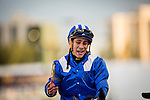 HALLANDALE FL - FEBRUARY 27: Junior Alvarado reacts after winning the Xpressbet.com Fountain of Youth Stakes  aboard Mohaymen at Gulfstream Park on February 27, 2016 in Hallandale, Florida.(Photo by Alex Evers/Eclipse Sportswire/Getty Images)