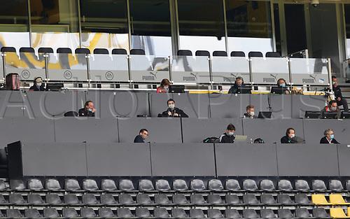 16th May 2020, Signal Iduna Park, Dortmund, Germany; Bundesliga football, Borussia Dortmund versus FC Schalke; The press stand area with written journalists