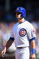 Chicago Cubs outfielder Justin Ruggiano (20) during a game against the Milwaukee Brewers on August 14, 2014 at Wrigley Field in Chicago, Illinois.  Milwaukee defeated Chicago 6-2.  (Mike Janes/Four Seam Images)