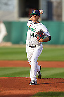 Cedar Rapids Kernels pitcher Jose Berrios #44 delivers a pitch during a game against the Lansing Lugnuts at Veterans Memorial Stadium on April 29, 2013 in Cedar Rapids, Iowa. (Brace Hemmelgarn/Four Seam Images)